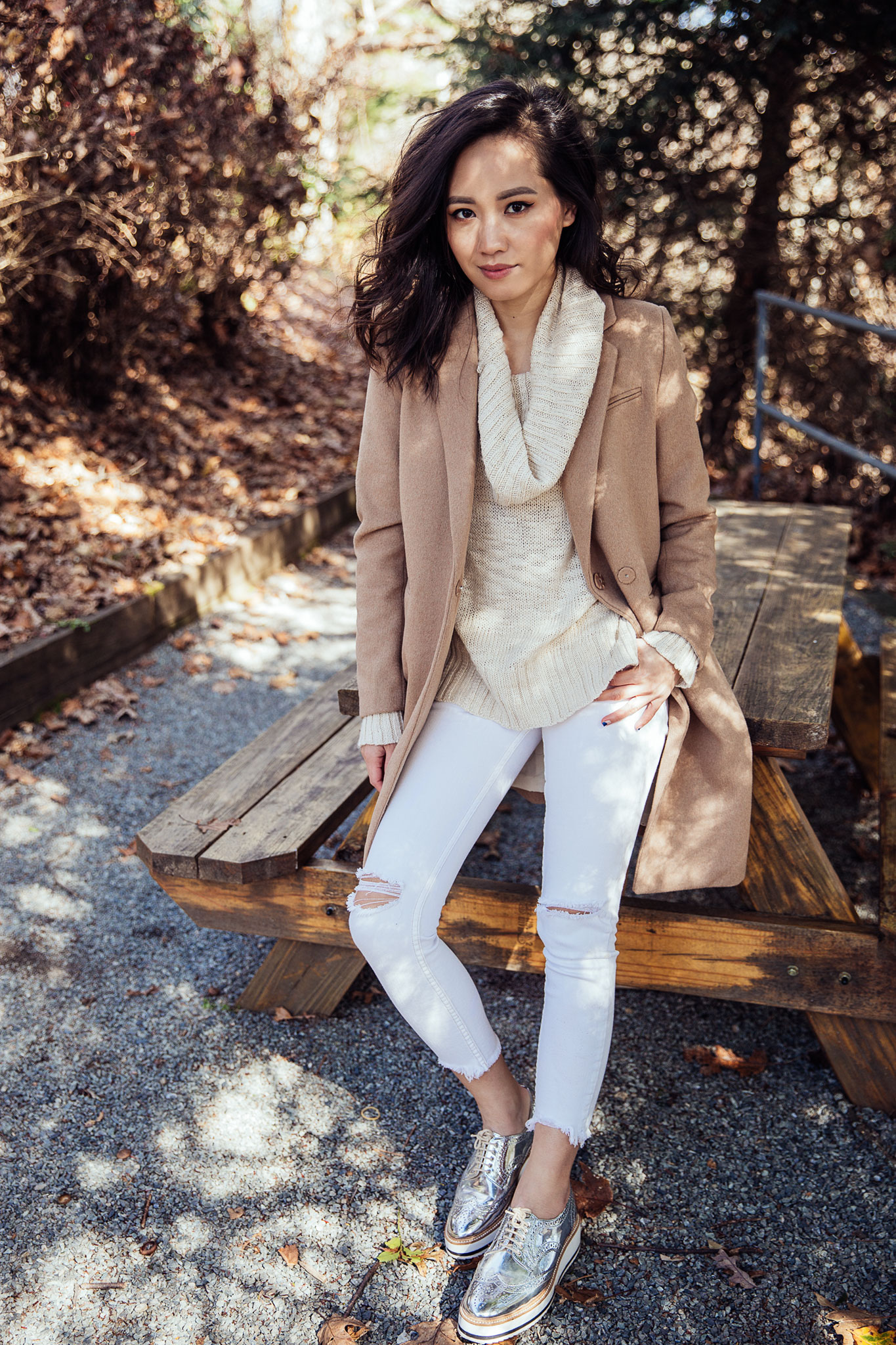 Fall Outfit - Camel Coat with Cowl Neck Sweater and White Jeans   le-jolie.com