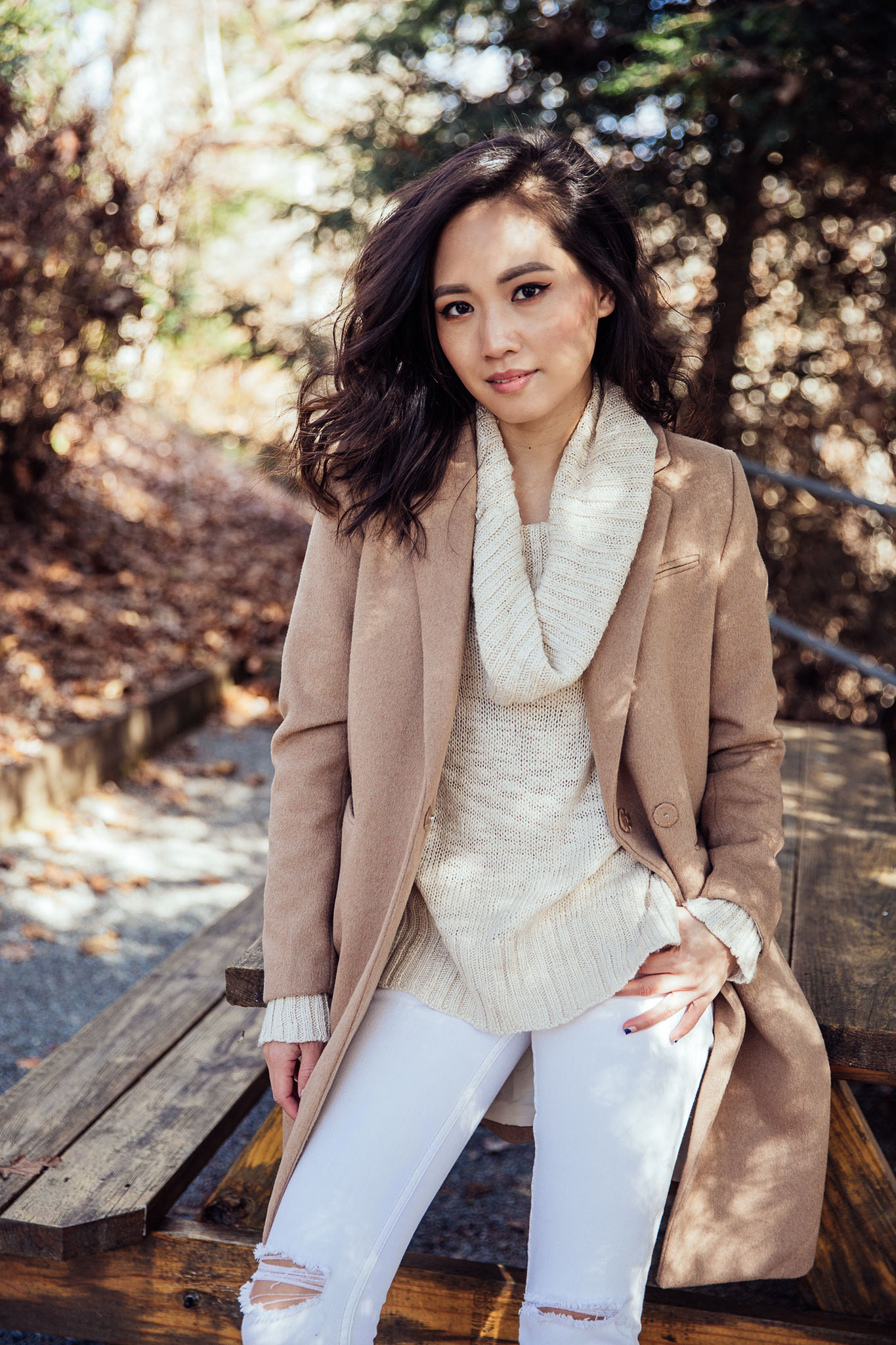 Fall Outfit - Camel Coat with Cowl Neck Sweater   le-jolie.com