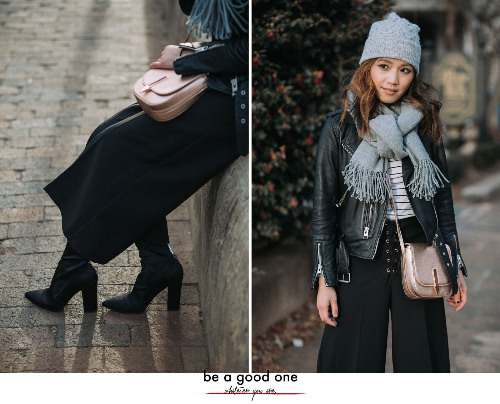 Blogging Essentials: How to Nail Your Personal Brand | LE-JOLIE.COM | winter outfits, layered winter look, street style fashion, winter street style, fashion blogger street style, charlotte fashion blogger, all saints balfern leather jacket, rosegold bag, blogging tips, blogging advice, sock booties, detail shot, sock boots trend