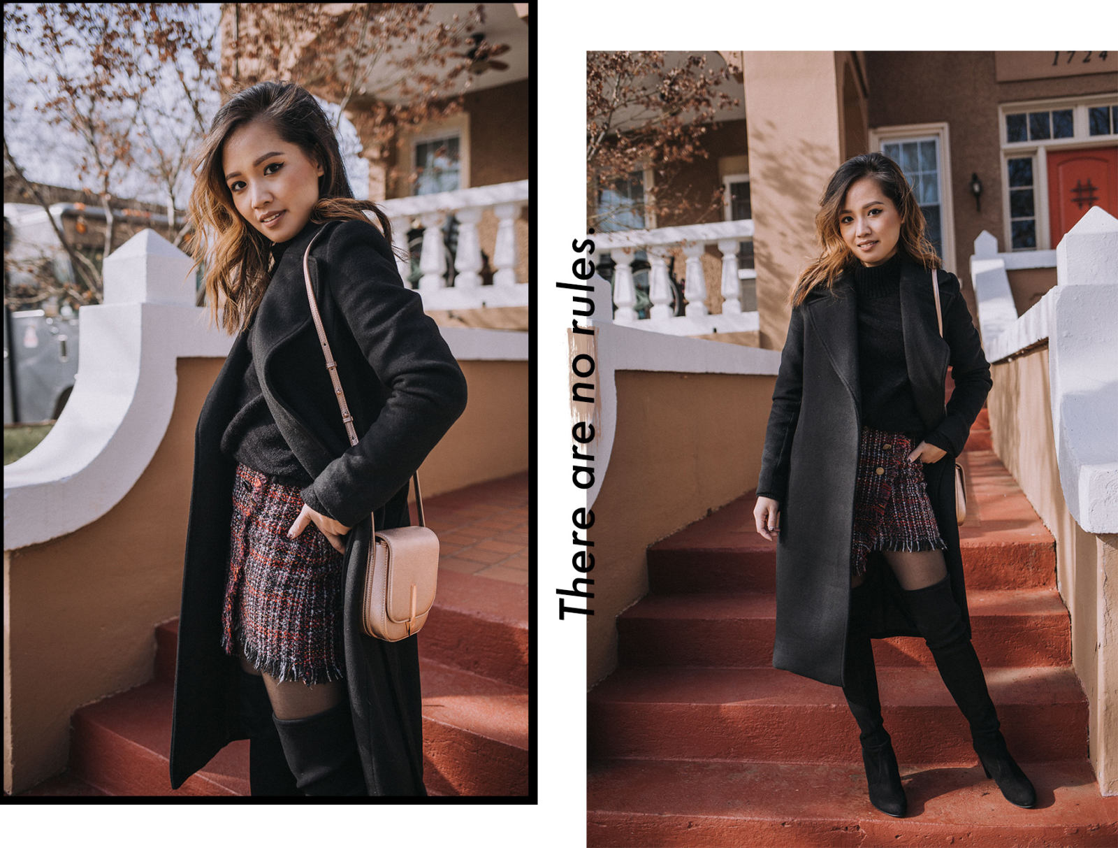 Your Ultimate Guide to Blogging 2018 Edition - Chic Winter Outfit in a turtleneck sweater, mini skirt, and stuart weitzman boots | le-jolie.com | Black top coat, feminine style, winter fashion, winter outfits, winter look, tweed skirt, tweed mini, bershka, karen walker, metallic trend, metallic handbag, over the knee boots, otk boots, minimal style, asian blogger, influencer style, turtleneck sweater outfit, black turtleneck, fashion collage, blogger collage, fashion layout, best blogging tips, fashion industry, blogging industry, how to become a blogger, photography tips